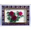 牡丹干花艺术品(不凋花)- 壁挂类,规格 72x52 小壁挂,边框透花雕刻 花开富贵